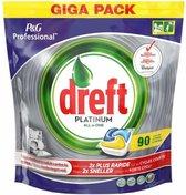 Dreft Platinum - All in One Lemon - 90 stuks -Vaatwastabletten